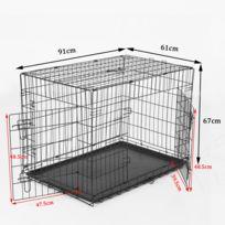 PAWHUT - Cage caisse de transport pliante pour chien en métal noir 91 x 61 x 67 cm 23