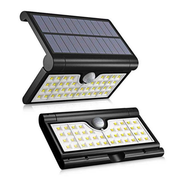 Lampe Solaire Jardin Led Applique Etanche Ip65 Anti Pluie 120 Grande Angle Detecteur De Mouvement 2w Noir