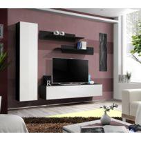 Asm-mdlt - Ensemble meuble Tv mural Fly-g noir et blanc de haute brillance