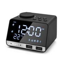 Réveil Haut Parleur Bluetooth 4.2 Radio Fm 2 Ports Usb Réveil Alarme Digital Led