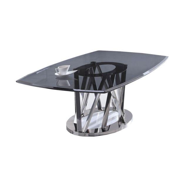 La Maison Du CanapÉ Table basse verre Maelis - Médium - Transparent - Noir