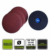 Silex - Lot de 20 disques abrasifs Ø225 grain 120, 80 et 40 + plateau de ponçage ® pour ponceuses