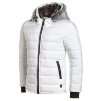 Uniplay - Doudoune homme blanche capuche fourrure fashion