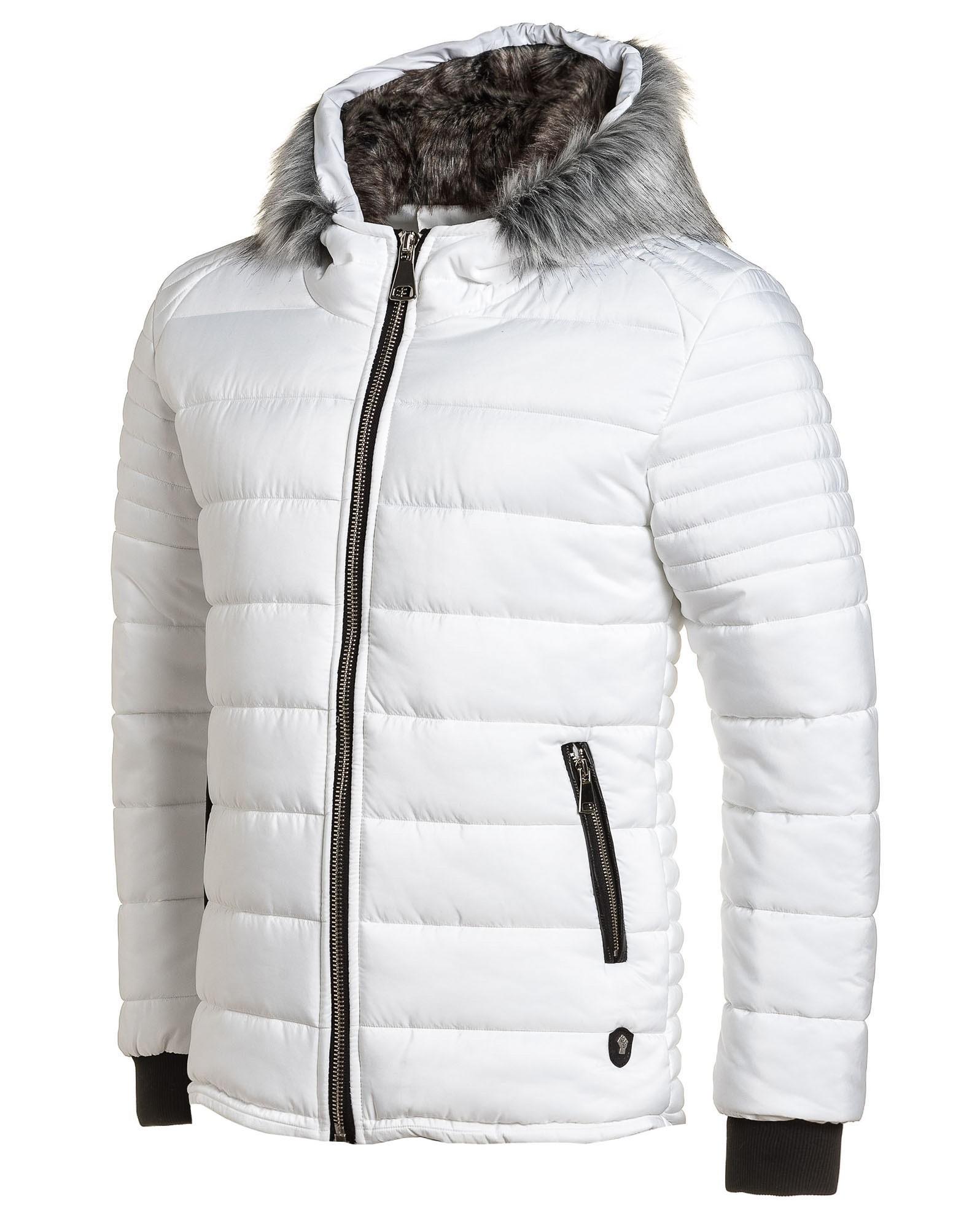 Doudoune homme blanche capuche fourrure fashion
