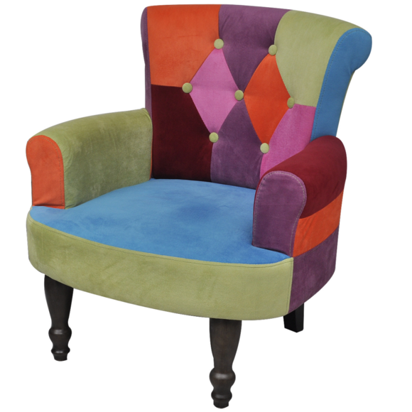 Rocambolesk Superbe Fauteuil avec accoudoirs design patchwork multi couleur neuf