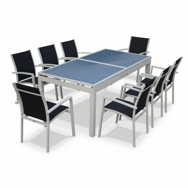 ALICE'S GARDEN Detroit Blanc / Gris - Salon de jardin 8 fauteuils table à rallonge auto extensible 200/260cm alu blanc textilène gris