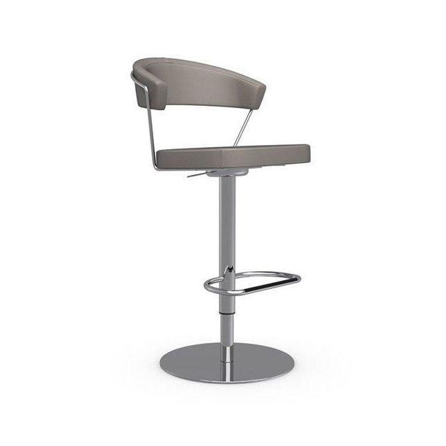 Inside 75 Chaise de bar New York design en tissu enduit polyuréthane simili façon cuir grège