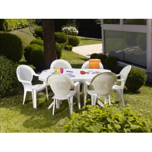 grosfillex salon de jardin 6 couverts vega 165 220x100 cm blanc pas cher achat vente. Black Bedroom Furniture Sets. Home Design Ideas