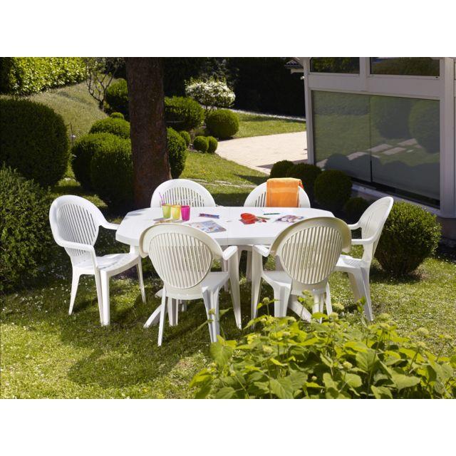 Grosfillex - salon de jardin 6 couverts vega 165/220x100 cm ...