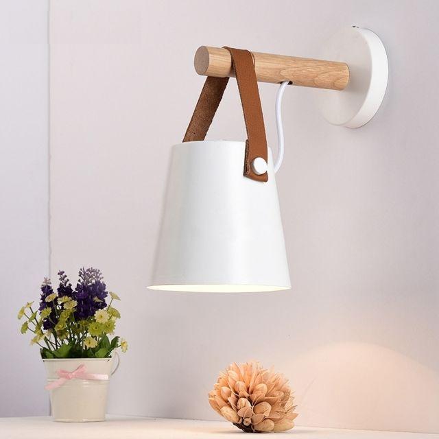 Applique Murale Led En Bois Lit Lampe De Chevet Veilleuse Moderne Abat Jour Nordic Home Decor Blanc