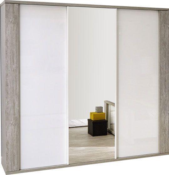 Comforium Armoire contemporaine éclairée avec 3 portes coulissantes 220 cm coloris valonia et blanc