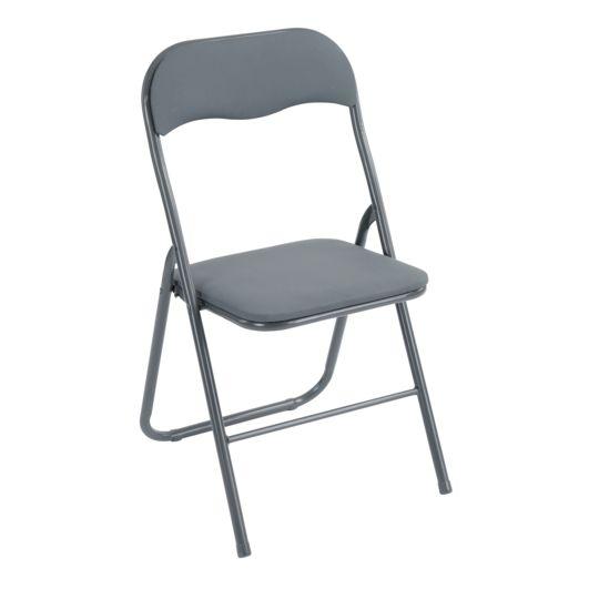 Chaise pliante - PVC - Gris.