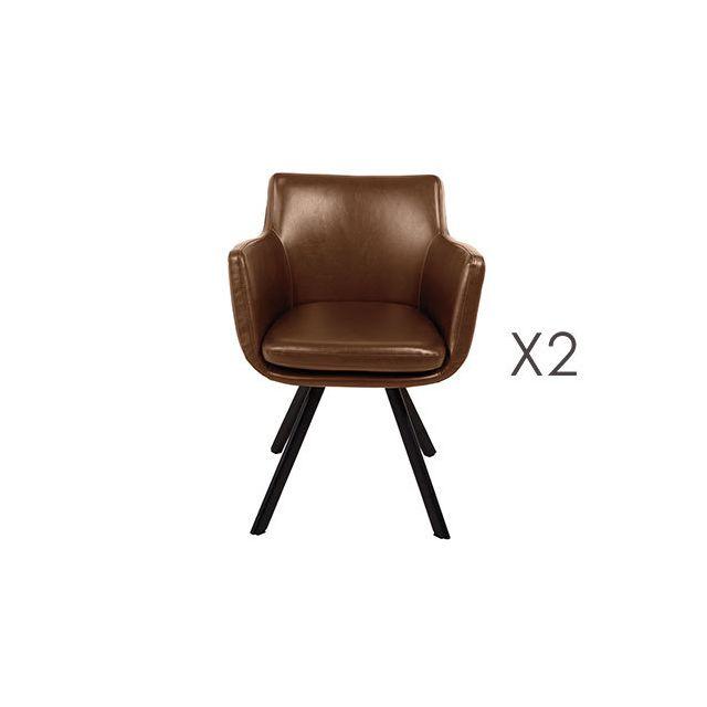 Lot de 2 fauteuils repas en Pu marron - Margot