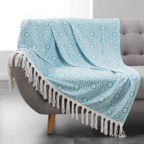 Douceur D'INTERIEUR - Plaid à franges flanelle Tunis 125x150 cm menthe