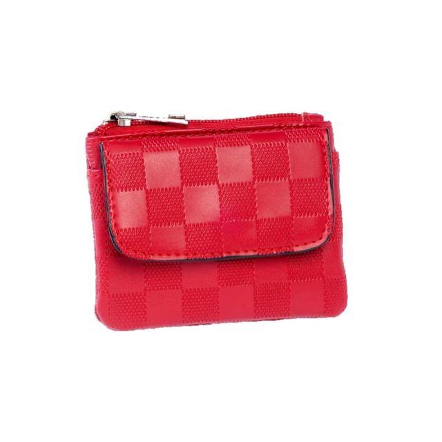Cristo Porte-Monnaie plat 11.5 x 9 x 1cm - Collection Damiers - Rouge