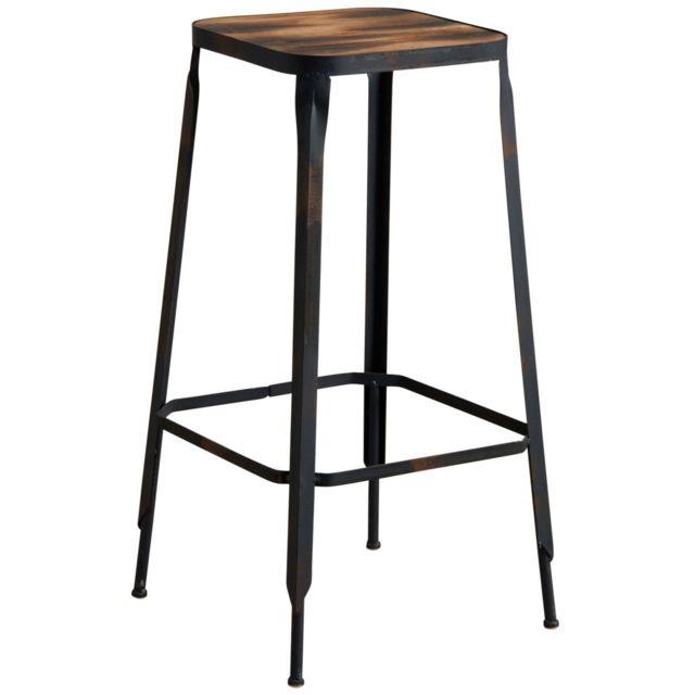 aubry gaspard tabouret de bar industriel en m tal et bois pas cher achat vente tabourets. Black Bedroom Furniture Sets. Home Design Ideas