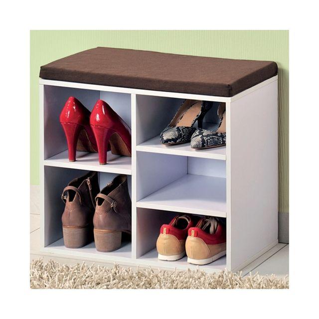 Meuble chaussures d 39 int rieur banc blanc avec coussin pour l 39 entr e pas cher achat vente - Meuble pour l entree ...