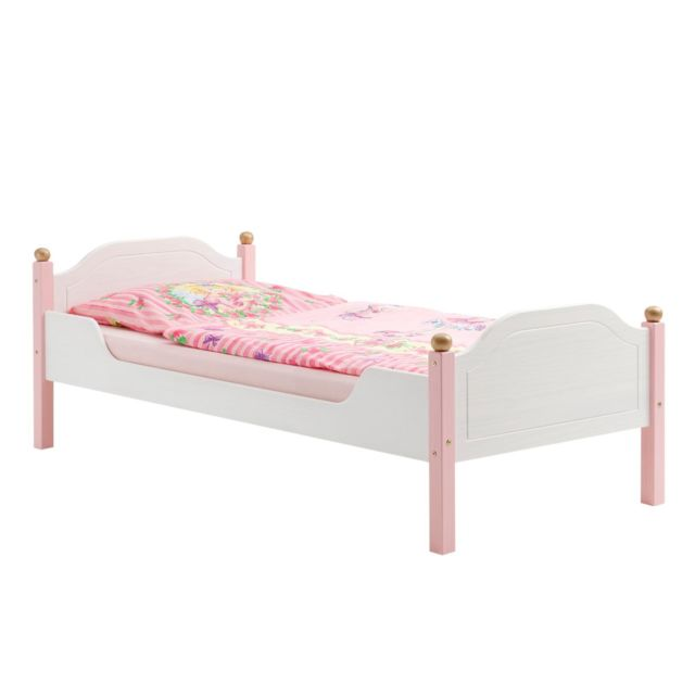 IDIMEX Lit pour enfant ISABELLA couchage 90 x 200 cm 1 personne idéal pour une fille, en pin massif lasuré blanc et rose