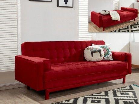 Marque generique canap clic clac en tissu eleanor rouge bordeaux pas cher achat vente - Canape rouge bordeaux ...