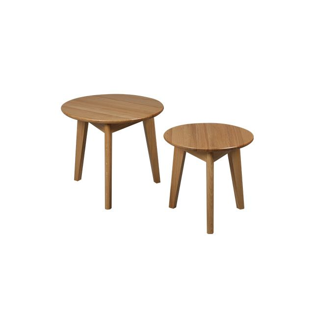 Set de 2 tables basses en chêne massif Trendy