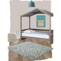 Nattiot - Tapis Maya bleu pour Chambre bébé par - Couleur - Bleu, Taille - 100 x 140 cm