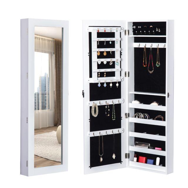 Homcom Armoire /à Bijoux Multi-rangements Design avec Miroir et Serrure 37L x 10l x 112H cm Blanche