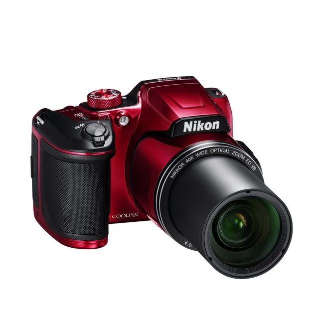 NIKON appareil photo bridge rouge - b500 zoom optique NIKKOR40x -Dynamic Fine Zoom80x -moniteur ACL inclinable haute définition 7,5 cm (3 pouces) -16 millions de pixels -vidéos Full HD