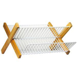 metaltex egouttoir pliable cadre en bois 321845 pas cher achat vente egouttoir vaisselle. Black Bedroom Furniture Sets. Home Design Ideas
