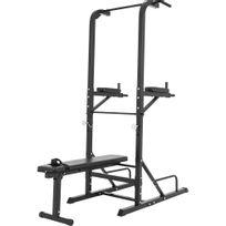Gorilla Sports - Station d'entrainement multifonctions barre de traction dips banc musculation