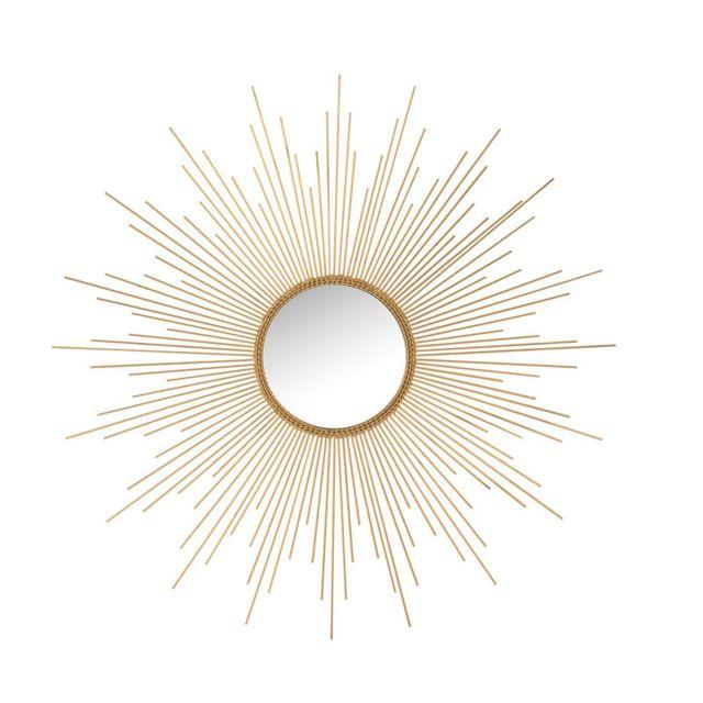 Tousmesmeubles Miroir soleil Rond Métal doré N°1 - Posavina
