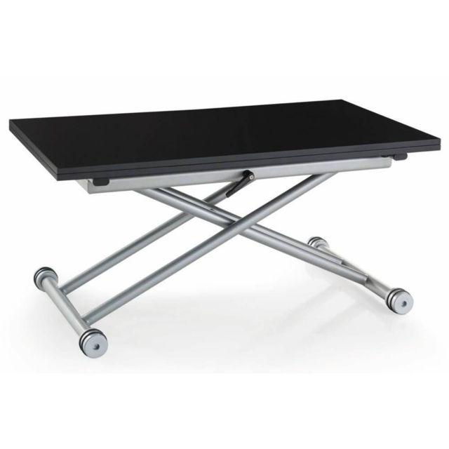 0dc6f2da77ba4b Inside 75 - Table basse relevable extensible Updown noire mate carbone  Petite taille compacte - pas cher Achat   Vente Tables à manger -  RueDuCommerce