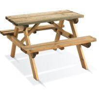 Dedans Dehors - Table de pique nique Wapiti pour enfants en bois