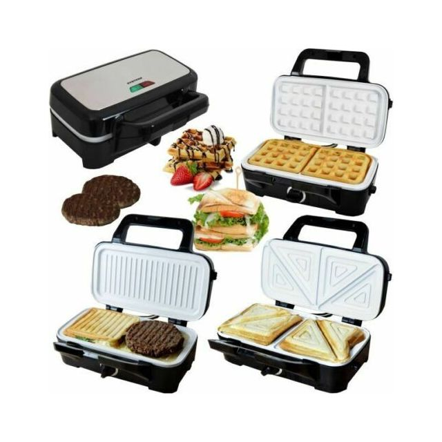 Syntrox Germany Gaufrier Sandwich Chef Maker 3 en 1 Grill avec revêtement en céramique 2200W