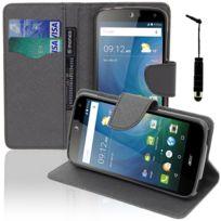 Vcomp - Housse Coque Etui portefeuille Support Video Livre rabat cuir Pu effet tissu pour Acer Liquid Z630/ Z630S + mini stylet - Noir