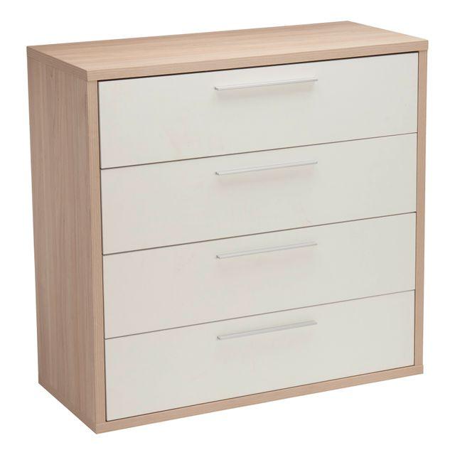 RUE DU COMMERCE Commode 4 tiroirs - Orme/blanc - K-877