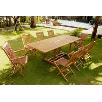 Concept Usine - Kajang: Salon en teck massif 10 pers + 6 chaises + 2 fauteuils + table rectangulaire