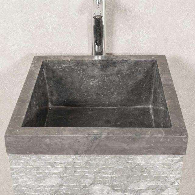 Vasque salle de bain sur pied en pierre pyramide havana noir