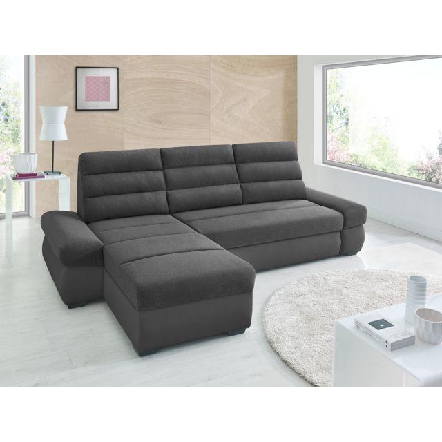 Sofa Story Canapé d'angle convertible Bimbo Noir