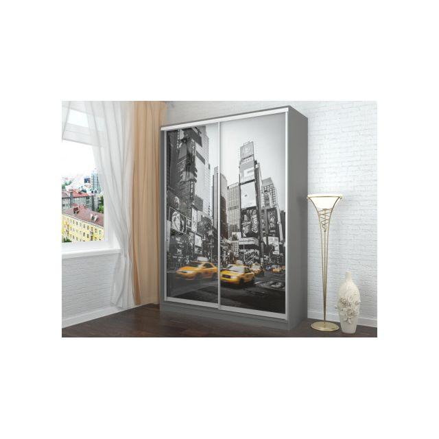 marque generique armoire avec impression new york. Black Bedroom Furniture Sets. Home Design Ideas