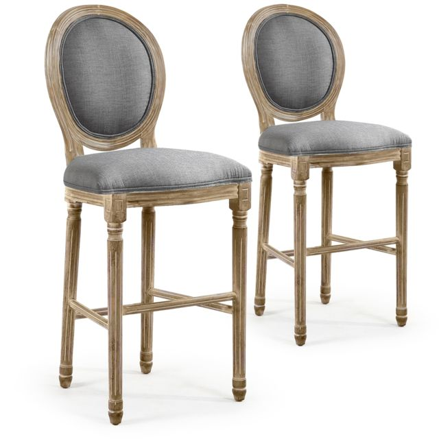 96fa3f6b35970 Lot de 2 chaises de bar médaillon Louis Xvi tissu Gris - pas cher Achat /  Vente Chaises - RueDuCommerce