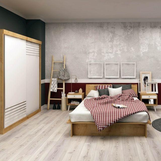 Homemania Ensemble de Chambre à Coucher Grande - Ensemble de meubles, Structure, Simple, Armoire, Table de nuit - Chêne, Blanc en