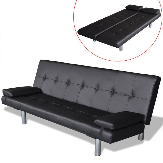 Vidaxl Clic-clac ajustable avec 2 oreillers coloris noir