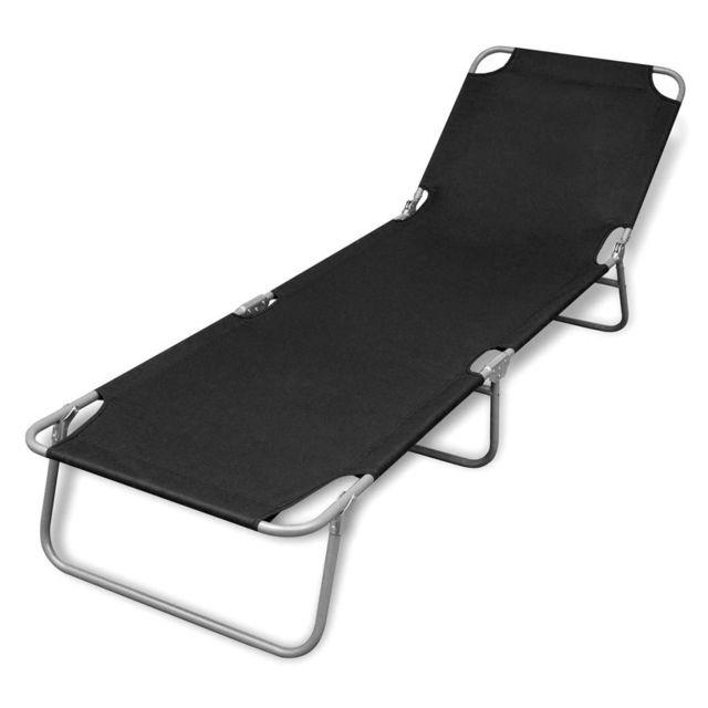 Moderne Sièges d'extérieur famille Belmopan Chaise longue pliable avec dossier réglable Noir