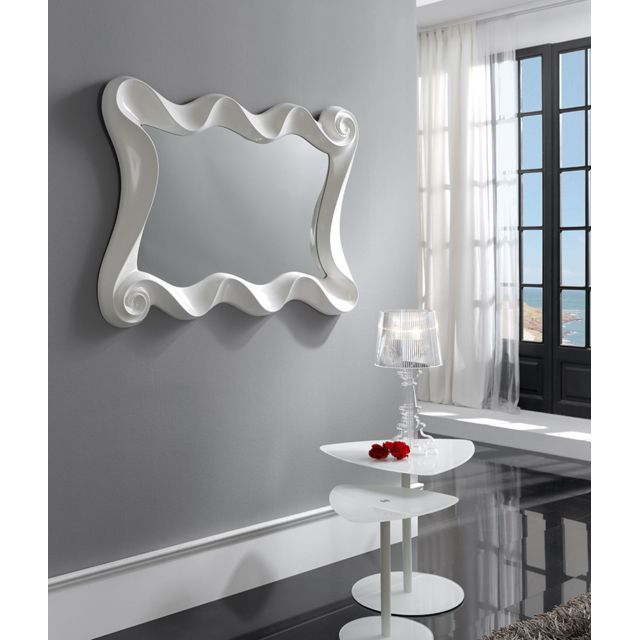 Kasalinea Miroir mural en gris ou blanc laqué design Lilou