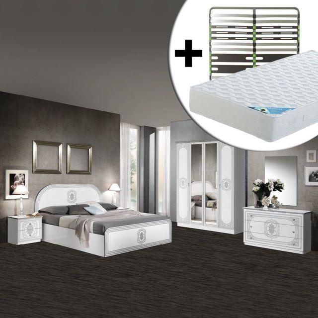 Altobuy Solaya - Chambre Complète 160x200cm + Sommier AltoZone + Matelas Maldives
