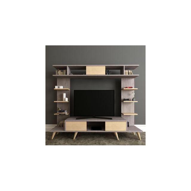 Homemania Meuble Tv Pan Moderne - avec Portes, Étagères - pour Salon - Chêne, Gris en Bois, 180 x 35 x 135 cm