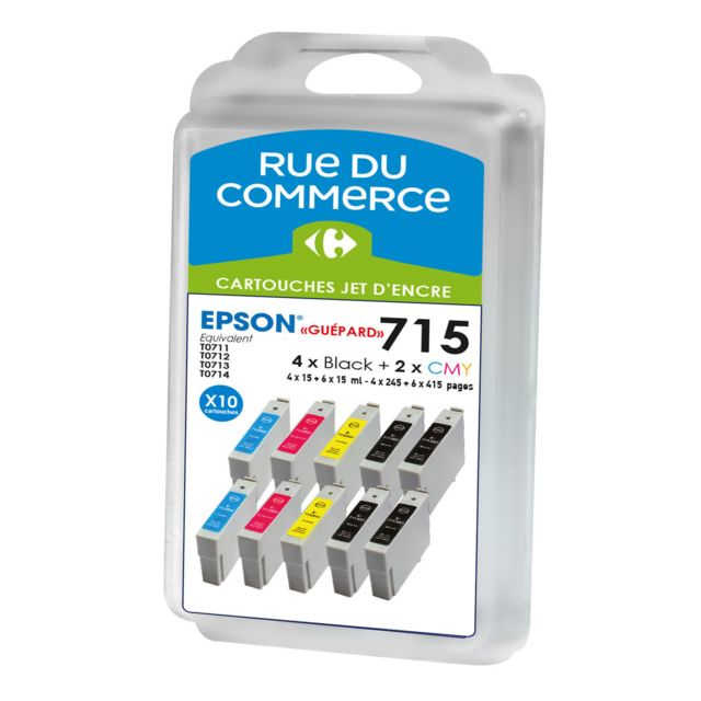 RUE DU COMMERCE Pack de 10 cartouches compatibles Epson T0715 - Guépard