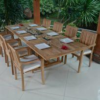 Teck\'ATTITUDE - Salon de jardin en teck qualité Ecograde Malaga, 12 ...
