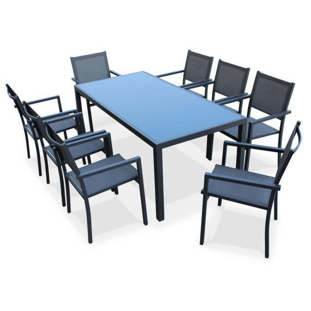 Salon de jardin en aluminium et textilène - Capua 180cm - Anthracite, gris  - 8 places - 1 grande table rectangulaire, 8 fauteuils empilables