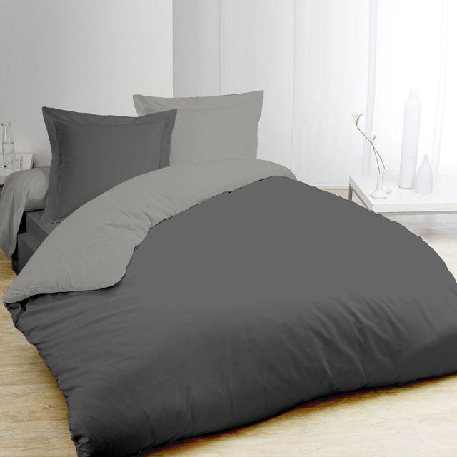 vision housse de couette bicolore gris et anthracite 240x220cm 2 taies 220cm x 240 cm pas. Black Bedroom Furniture Sets. Home Design Ideas